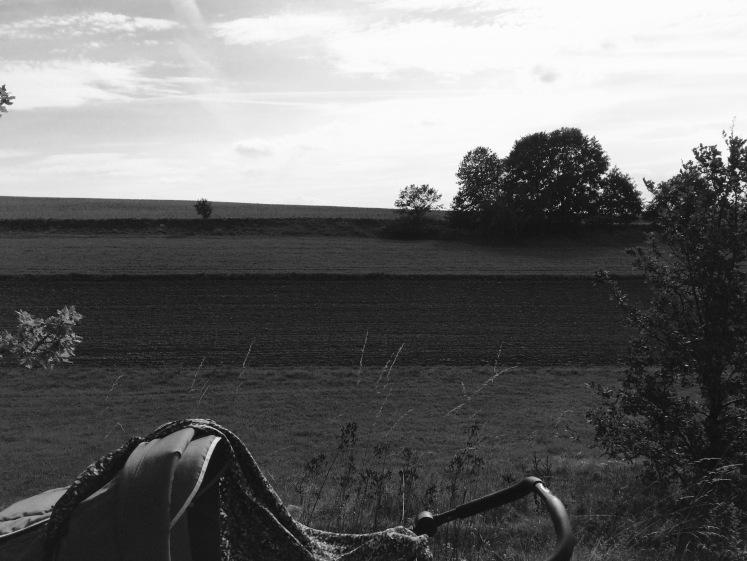 Pram and landscape black and white / Kinderwagen und Landschaft schwarzweiß