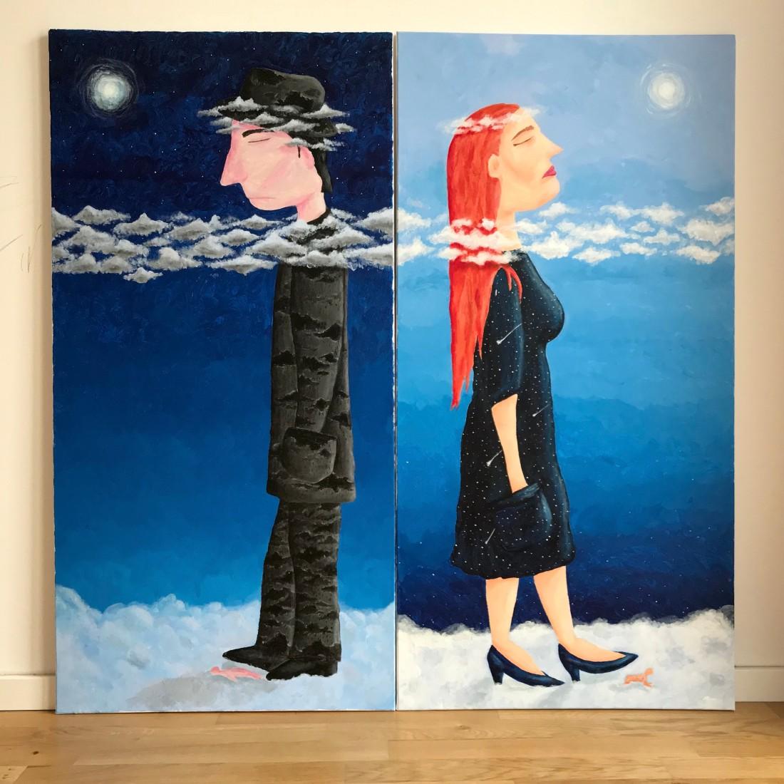 The Fools. painting. Kathrin Eß. Kat Ess. 2019